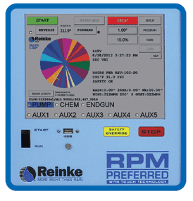 Reinke's user friendly RPM touch screen control panel
